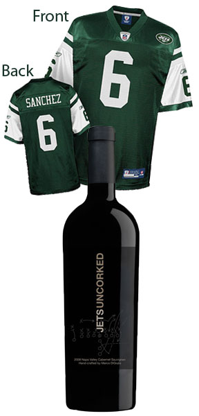New York Jets Sanchez Replica Jersey and a Bottle of Jets Uncorked Gift Set